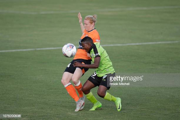 Rhoda Mulaudzi of Canberra United competes for the ball during the round nine WLeague match between Canberra United and the Brisbane Roar at McKellar...