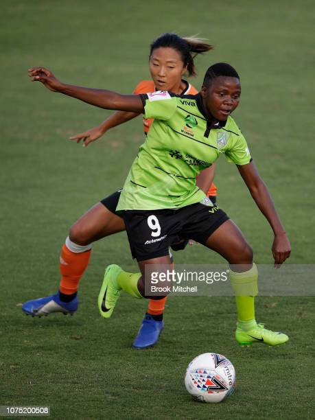 Rhoda Mulaudzi of Canberra United controls the ball during the round nine WLeague match between Canberra United and the Brisbane Roar at McKellar...