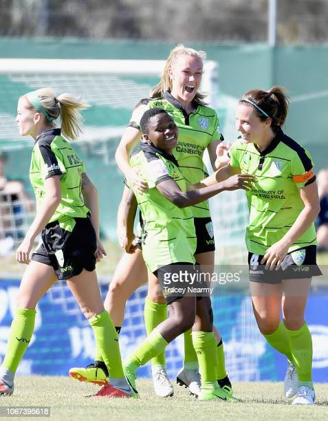 Rhoda Mulaudzi of Canberra United scores a goal during the round five WLeague match between Canberra United and Sydney FC at McKellar Park on...