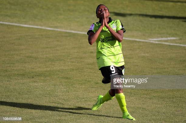 Rhoda Mulaudzi of Canberra United scores the first goal of the match during the round one WLeague match between Canberra United and Melbourne City at...