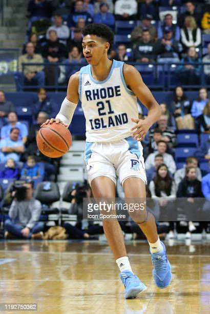 Rhode Island Rams forward Jacob Toppin with the ball during a college basketball game between Davidson Wildcats and Rhode Island Rams on January 8 at...