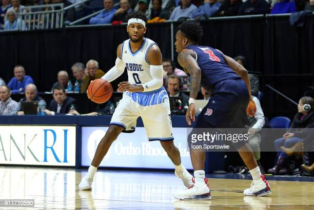 Rhode Island Rams guard EC Matthews and Duquesne Dukes guard Tarin Smith in action during a college basketball game between Duquesne Dukes and Rhode...