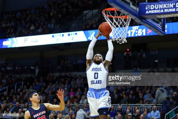 Rhode Island Rams guard EC Matthews drives to the basket during a college basketball game between Duquesne Dukes and Rhode Island Rams on January 27...