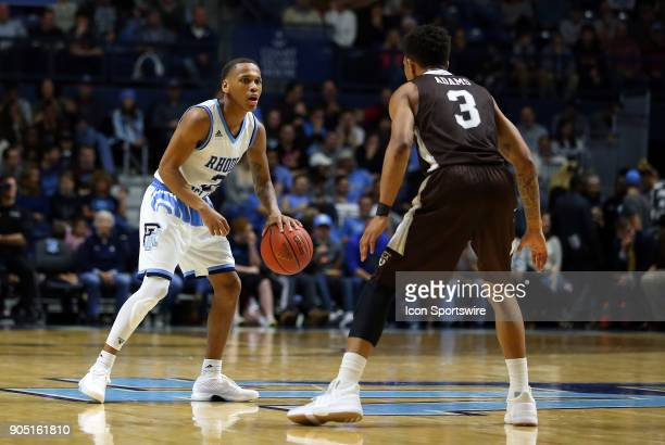 Rhode Island Rams guard Fatts Russell defended by St Bonaventure Bonnies guard Jaylen Adams during a college basketball game between St Bonaventure...