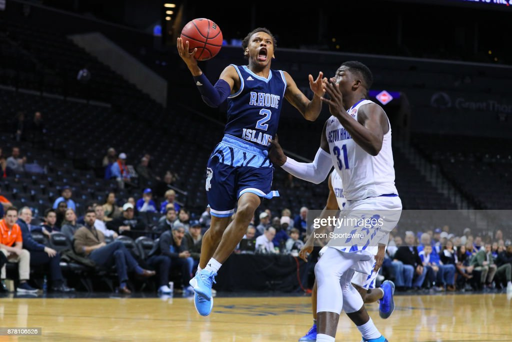 Rhode Island Rams guard Fatts Russell (2) during the second half of the NIT Season Tip Off College Basketball game between the Seton Hall Pirates and the Rhode Island Rams on November 23, 2017, at the Barclays Center in Brooklyn, NY.