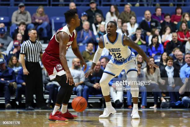 Rhode Island Rams guard Jared Terrell defends UMass Minutemen guard CJ Anderson during a college basketball game between UMass Minutemen and Rhode...