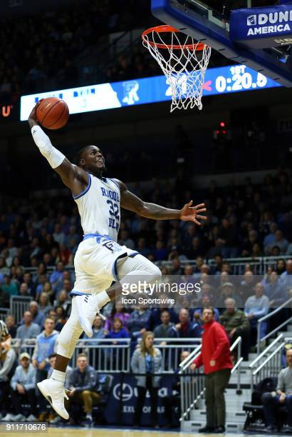 Rhode Island Rams guard Jared Terrell goes in for the dunk during a college basketball game between Duquesne Dukes and Rhode Island Rams on January...