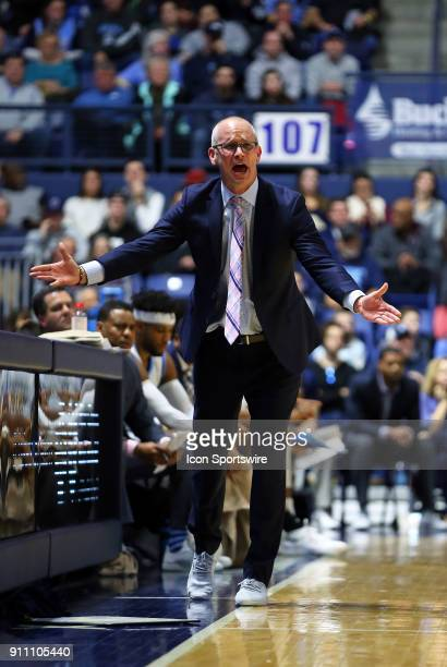 Rhode Island Rams head coach Dan Hurley reacts during a college basketball game between Duquesne Dukes and Rhode Island Rams on January 27 at the...