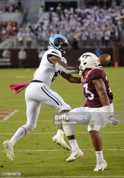 Rhode Island Rams wide receiver Aaron Parker catches a pass during a game between the Rhode Island Rams and the Virginia Tech Hokies on October 12...