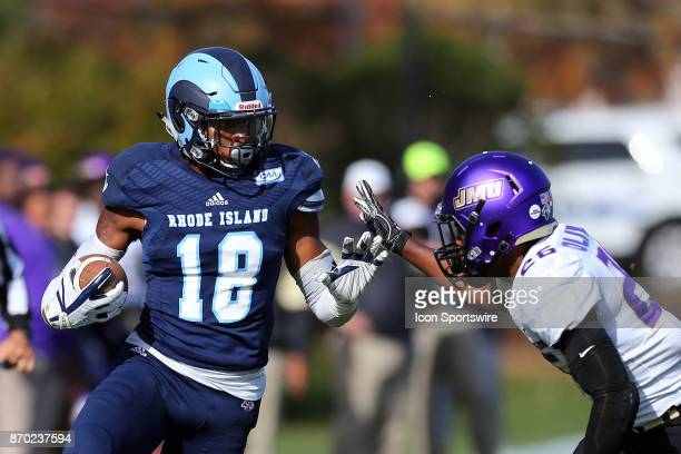 Rhode Island Rams wide receiver Marven Beauvais and James Madison Dukes cornerback Curtis Oliver in action during a college football game between...