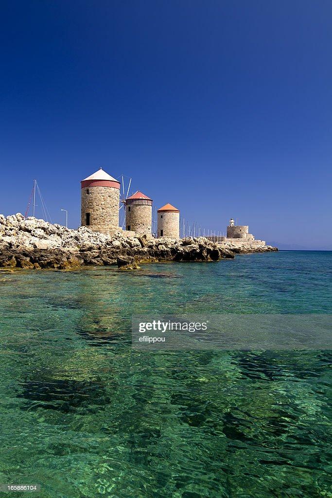 Rhodes Mandraki Windmills : Stock Photo
