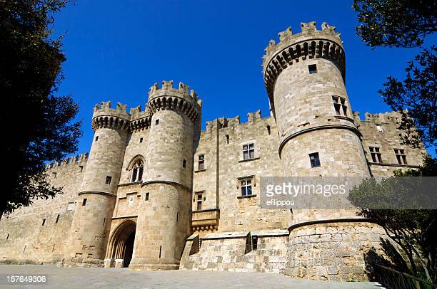 rhodes medieval knights castle / palace - chateau stock pictures, royalty-free photos & images