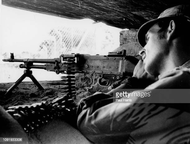 Rhodesia soldier in a bunker on the border of Mozambique close to Umtali