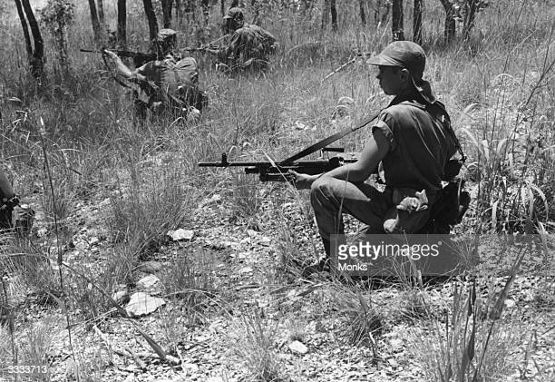 Rhodesian army commandos on antiterrorist manoeuvres during the crisis in Rhodesia