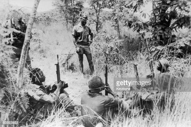 Rhodesian army instructors train members of the Security Force Auxiliaries in bush warfare 1979 The