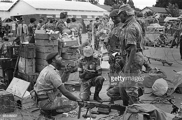 Rhodesian security forces are about to leave on patrol along the Mozambican border April 19 during a general mobilisation during the election period