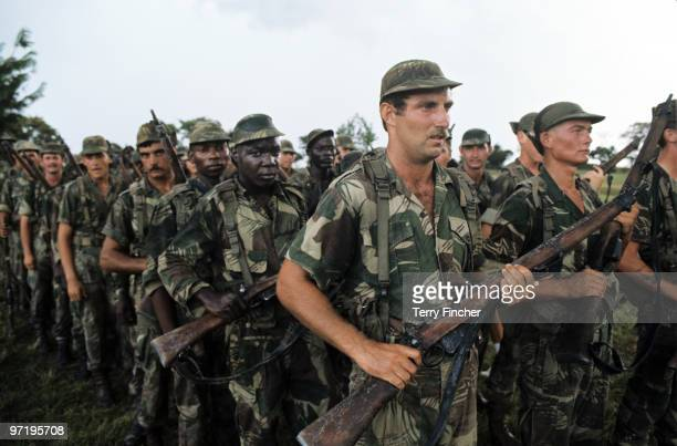 Rhodesian security forces from mixed race seen training to fight guerilla forces Rhodesia before Independence 1976