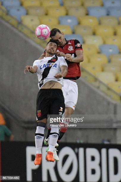 Rhodolfo of Flamengo battles for the ball with Yago Pikachu of Vasco da Gama during the match between Flamengo and Vasco da Gama as part of...