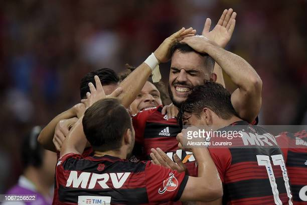 Rhodolfo of Flamengo celebrates after scoring the first goal of his team during the match between Flamengo and AtleticoPR as part of Brasileirao...