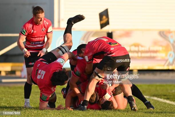 Rhodri Davies of Cornish Pirates celebrates with his team mates after scoring his side's third try during the Greene King IPA Championship match...