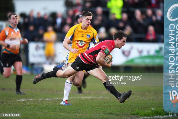 Rhodri Davies of Cornish Pirates goes over for a try during the Greene King IPA Championship match between Cornish Pirates and Yorkshire Carnegie at...