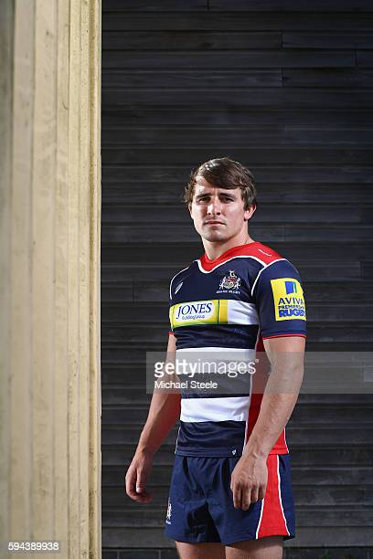 Rhodri Williams poses for a portrait during the Bristol Rugby squad photo call for the 2016-2017 Aviva Premiership Rugby season on August 23, 2016 in...