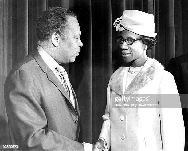 Rhody McCoy and Rep Shirley Chisholm were two of four recipients of awards at the 32nd Annual Negro History Week Observance at WaldorfAstoria