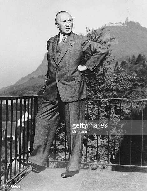 Rhoendorf, West Germany: This is Federal Chancellor Dr. Konrad Adenauer on the balcony of his home in Rhoendorf, where he can recuperate from his...