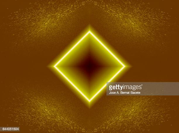 Rhombuses or concentric squares on a background of water drops  brown and yellow
