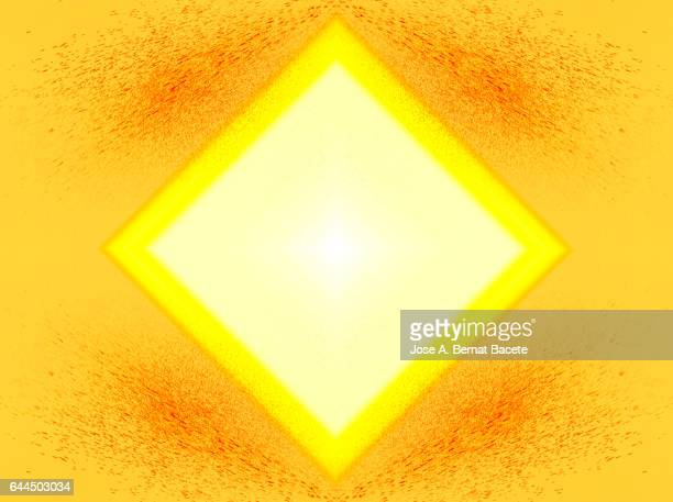 Rhombuses or concentric squares on a background of water drops  orange and yellow