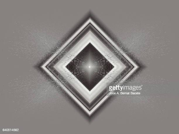 Rhombuses or concentric squares on a bottom of water drops of gray color