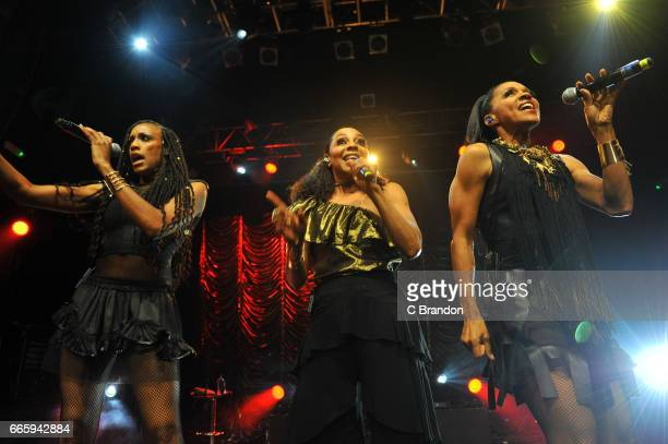 Rhona Bennett Terry Ellis and Cindy Herron of En Vogue perform on stage at KOKO on April 7 2017 in London England