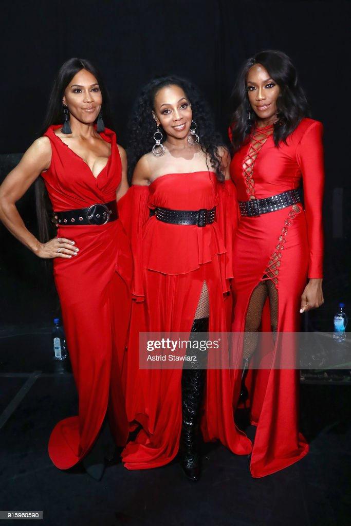 Rhona Bennett, Terry Ellis and Cindy Herron-Braggs of En Vogue attend the American Heart Association's Go Red For Women Red Dress Collection 2018 presented by Macy's at Hammerstein Ballroom on February 8, 2018 in New York City.