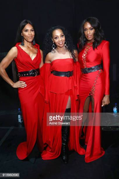 Rhona Bennett Terry Ellis and Cindy HerronBraggs of En Vogue attend the American Heart Association's Go Red For Women Red Dress Collection 2018...