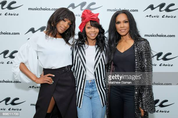 Rhona Bennett Terry Ellis and Cindy HerronBraggs of En Vogue visit Music Choice on March 26 2018 in New York City