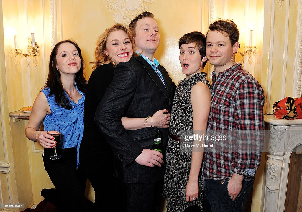 Rhona Croker, Kelly Price, Rufus Hound, Amy Cudden and Sam Alexander attend an after party celebrating the new cast of 'One Man, Two Guvnors' at the Theatre Royal Haymarket on February 12, 2013 in London, England.