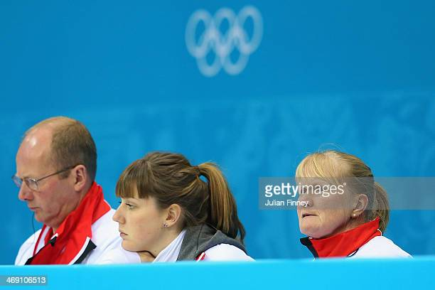 Rhona Martin coach of team GB looks on during the Curling Round Robin match between China and Great Britain during day six of the Sochi 2014 Winter...