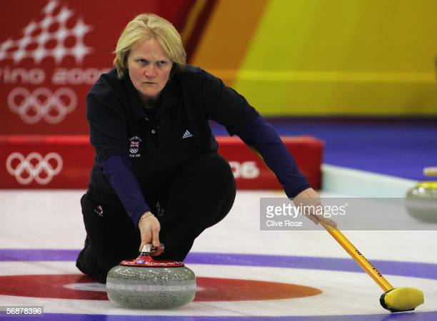 Rhona Martin of Great Britain looks on during the preliminary round of the women's curling between Italy and Great Britain during Day 8 of the Turin...
