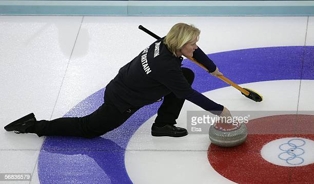 Rhona Martin of Great Britain slides the stone during the preliminary round of the women's curling between Great Britain and Denmark during Day 3 of...