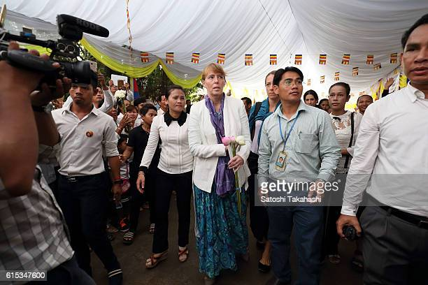 Rhona Smith the UNs special rapporteur on human rights in Cambodia attends the 100day funeral ceremony for prominent political analyst Kem Ley who...