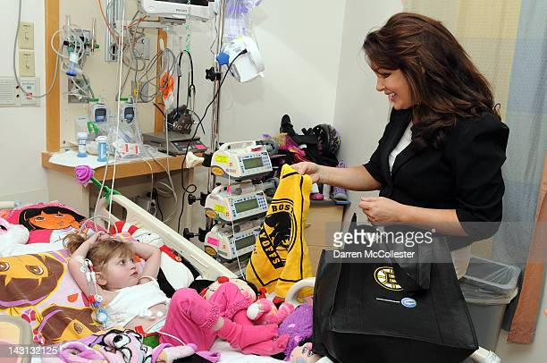 Rhonda Benning wife of Boston Bruin Assistant General Manager Jim Benning brings Boston Bruins Madness to Saige at Children's Hospital Boston on...