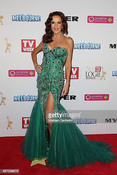 Rhonda Burchmore arrives at the 2014 Logie Awards at Crown Palladium on April 27 2014 in Melbourne Australia