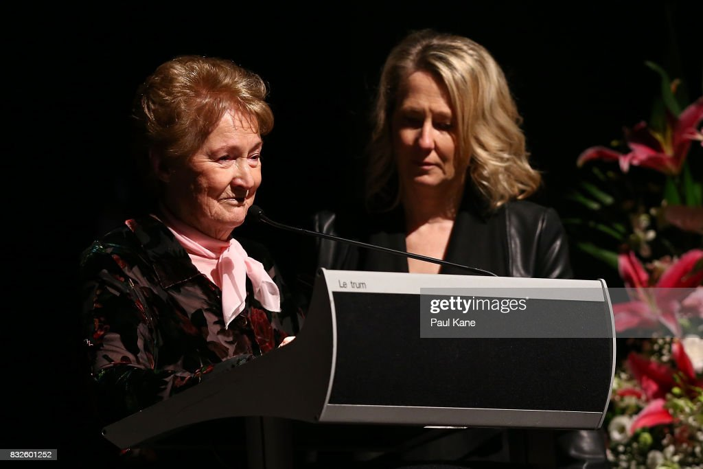 Rhonda Gillam delivers a eulogy during the funeral service for Betty Cuthbert at Mandurah Performing Arts Centre on August 16, 2017 in Mandurah, Australia. Betty Cuthbert was known as 'The Golden Girl' at the 1956 Melbourne Olympics, winning the 100m, 200m and 4x100m relay. After sustaining an injury at the Rome Olympics in 1960, Cuthbert came out of a short-lived retirement to win her fourth Olympic gold medal in the 400m at the 1964 Tokyo Olympic Games. Betty Cuthbert passed away on 6 August 2017, aged 79.