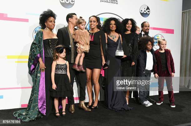 Rhonda Ross Kendrick Berry Gordy Diana Ross host Tracee Ellis RossChudney Ross Ross Naess and Bronx Wentz pose in the press room during the 2017...