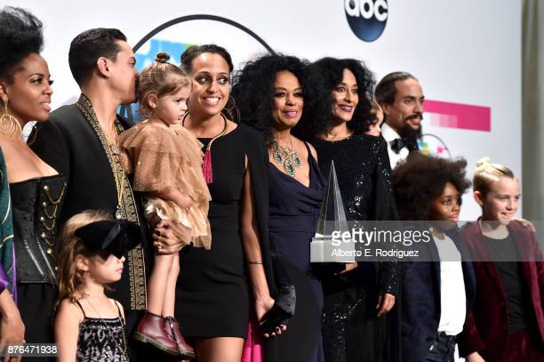 Rhonda Ross Kendrick Evan Ross Chudney Ross Diana Ross Tracee Ellis Ross and Ross Naess pose in the press room during the 2017 American Music Awards...