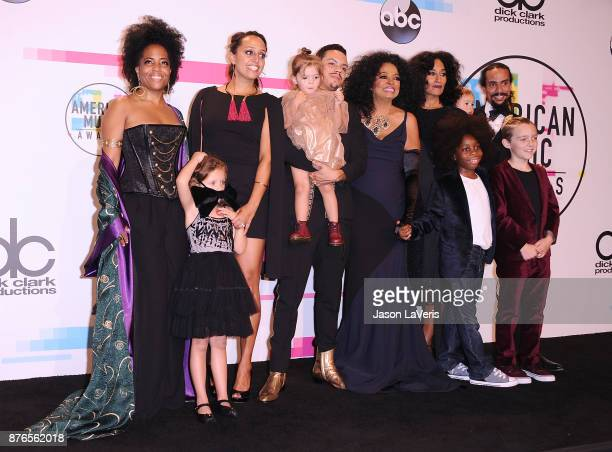 Rhonda Ross Kendrick Evan Ross Chudney Ross Diana Ross Tracee Ellis Ross and Ross Naess pose in the press room at the 2017 American Music Awards at...