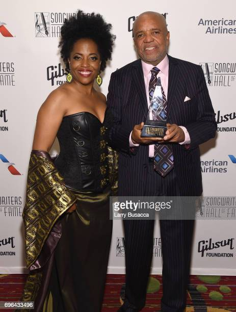 Rhonda Ross Kendrick poses with 2017 Inductee Berry Gordy baackstage at the Songwriters Hall Of Fame 48th Annual Induction and Awards at New York...