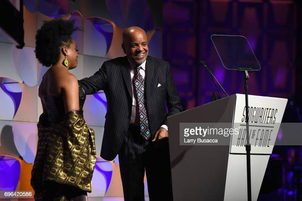 Rhonda Ross Kendrick presents the award to 2017 Inductee Berry Gordy onstage at the Songwriters Hall Of Fame 48th Annual Induction and Awards at New...