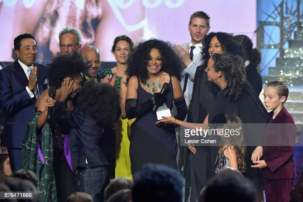 Rhonda Ross Kendrick Smokey Robinson Berry Gordy Diana Ross host Tracee Ellis RossChudney Ross Ross Naess and Bronx Wentz pose in the press room...