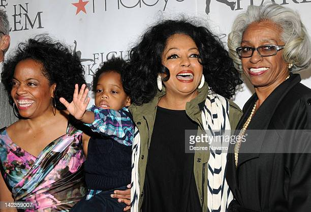 Rhonda Ross RaifHenok Emmanuel Kendrick Diana Ross and Dr Barbara RossLee attend the 2012 Skating with the Stars gala at Wollman Rink Central Park on...